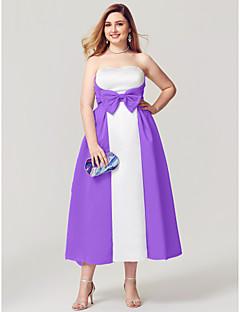 billige Mønstrede og ensfargede kjoler-A-linje Stroppeløs Telang Sateng Ball / Skoleball / Formell kveld Kjole med Sløyfe(r) Plissert Sidedrapering av TS Couture®