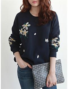 tanie Damskie bluzy z kapturem-Damskie Rozmiar plus Moda miejska Wyjściowe Bawełna Bluzy z kapturem i bluzy - Haft / Jesień