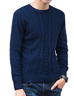 tanie Męskie swetry i swetry rozpinane-Męskie Aktywny Okrągły dekolt Pulower Jendolity kolor