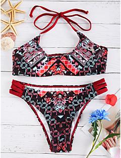 billige Bikinier og damemote-Dame Bohem Blomster Grime Vin Bikini Badetøy Trykt mønster M L XL / Dytt opp