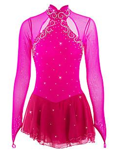 preiswerte -Eiskunstlaufkleid Damen Mädchen Eislaufen Kleider Pfirsich Elasthan Strass Hochelastisch Leistung Eiskunstlaufkleidung Handgemacht Mit
