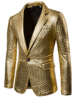 cheap $25-$35-Men's Party / Casual / Daily Sophisticated Spring / Fall Regular Blazer, Solid Colored Shirt Collar Long Sleeve PU Cut Out Gold / Black / Silver L / XL / XXL / Slim