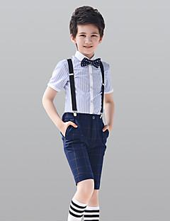 tanie Garnitury dla małych dróżbów-White Dark Navy 100% Bawełna Garnitur dla małego drużby - 4 Zawiera Koszula Spodnie Szelki Muszka