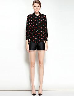 preiswerte -Damen Druck Retro Aktiv Ausgehen Lässig/Alltäglich Hemd,Hemdkragen Frühling Sommer Langärmelige Seide Mittel