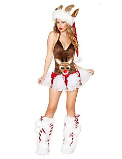 billige julen Kostymer-Julkjole Julehue Kvinnelig Jul Festival / høytid Halloween-kostymer kaffe Jul