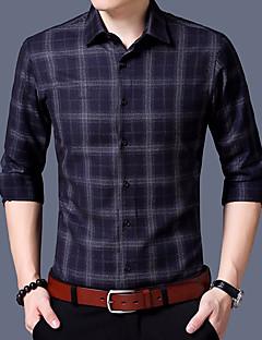 billige Herre Toppe-Herre - Ruder Bomuld Skjorte / Langærmet