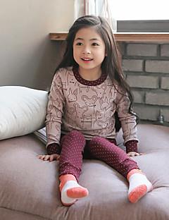 Para Meninas Roupa de Dormir Listrado Algodão Manga Longa Simples Rosa