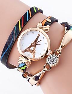 お買い得  フローラルパターン 腕時計-女性用 カジュアルウォッチ ファッションウォッチ ブレスレットウォッチ 中国 クォーツ 模造ダイヤモンド PU バンド 花型 カジュアル エッフェル塔 ボヘミアンスタイル 白 ブルー グリーン 黄色