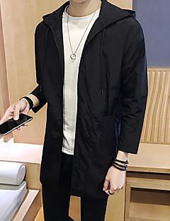 billige Herre Overtøj-Hætte Overdimensionerede, Herre Lang Ensfarvet Frakke
