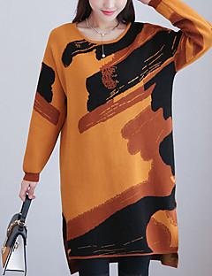 baratos Suéteres de Mulher-Mulheres Manga Longa Carregam Estampado
