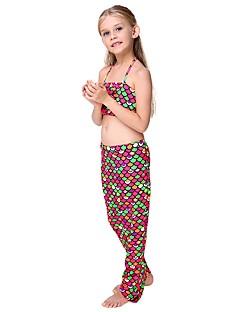 billige Barnekostymer-The Little Mermaid Skjørt Barne Halloween Festival / høytid Halloween-kostymer Regnbue Rød Havfrue Halloween