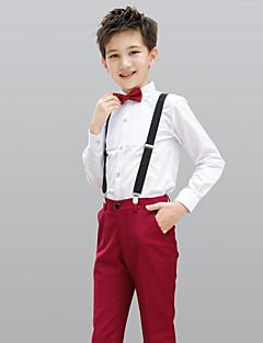 お買い得  子供用リングベアラースーツ-バーガンディー コットン100% リングベアラースーツ - 4 含まれています シャツ パンツ 蝶ネクタイ サスペンダー