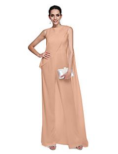 billiga Balklänningar-Åtsmitande Prydd med juveler Golvlång Chiffong Cocktailfest / Formell kväll Klänning med Bård av TS Couture®