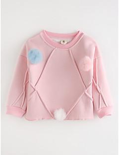 billige Barns Moteklær-Jente T-skjorte Ensfarget Bomull Høst Tegneserie Rød Rosa Grå
