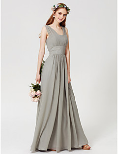 cheap Going Neutral-Sheath / Column Square Neck Floor Length Chiffon Bridesmaid Dress with Draping by LAN TING BRIDE®