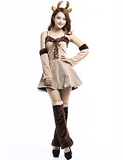 billige julen Kostymer-Reinsdyr Cosplay Kostumer Dame Jul Festival / høytid Halloween-kostymer Beige Fargeblokk Kjoler Cosplay