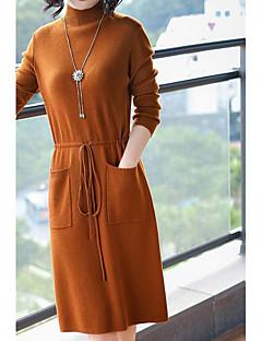 Χαμηλού Κόστους Sweater Dresses-Γυναικεία Μεγάλα Μεγέθη Εξόδου Κομψό στυλ street Πλεκτά Φόρεμα - Μονόχρωμο Μίντι Ζιβάγκο