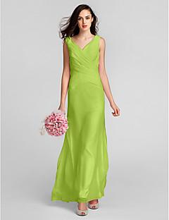 Ίσια Γραμμή Λαιμόκοψη V Μακρύ Σιφόν Φόρεμα Παρανύμφων με Χιαστί με LAN TING BRIDE®