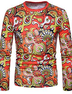 billige Herremote og klær-Bomull Medium Langt Erme,Rund hals T-skjorte Regnbue Vår Høst Fritid Gatemote Daglig Herre