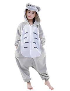 billige Kigurumi-Kigurumi-pysjamas Totoro Anime Onesie-pysjamas Kostume Polar Fleece Grå Cosplay Til Barne Pysjamas med dyremotiv Tegnefilm Halloween