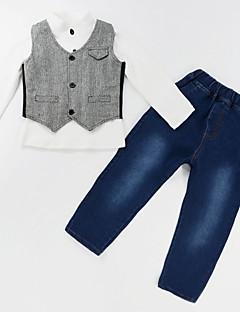 billige Tøjsæt til drenge-Drenge Tøjsæt Daglig I-byen-tøj Ensfarvet Farveblok, Bomuld Spandex Alle årstider Langærmet Gade Grå