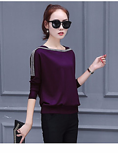 cheap -Women's Daily Casual Spring Summer T-shirt,Solid Round Neck Long Sleeve Spandex