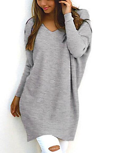 cheap Women's Sweaters-Women's Long Sleeves Pullover - Solid V Neck