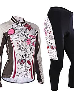 billige Sykkelklær-Nuckily Sykkeljersey med tights Dame Langt Erme Sykkel Jersey KlessettVindtett Anatomisk design Fukt Gjennomtrengelighet Forside Glidelås