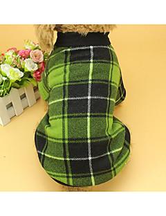billiga Hundkläder-Katt Hund Tröja Hundkläder Pläd/Rutig Röd Grön Bomull/Linneblandning Kostym För husdjur Minimalistisk Stil Rutig