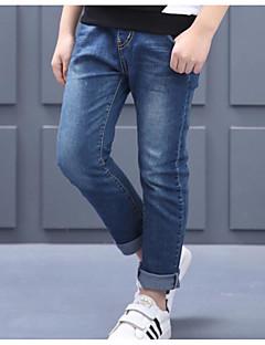 billige Jeans til drenge-Drenge Jeans Ensfarvet Simpel, Bomuld Forår Efterår Aktiv Blå