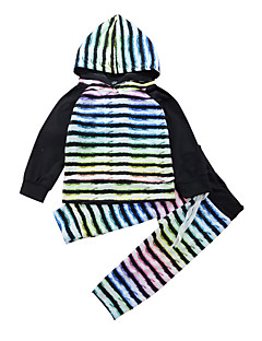 billige Tøjsæt til drenge-Unisex Tøjsæt Daglig Sport Stribet Regnbue, Modal Forår Alle årstider Langærmet Afslappet Aktiv Regnbue