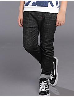 billige Drengebukser-Drenge Jeans Ensfarvet Simpel, Bomuld Forår Efterår Aktiv Sort
