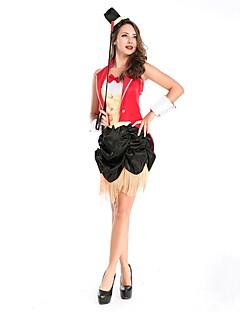 billige Halloweenkostymer-ringmaster Sirkus Cosplay Kostumer Party-kostyme Dame Halloween Karneval Festival / høytid Halloween-kostymer Rød Fargeblokk Fest/aften