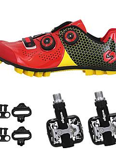 billiga Cykling-SIDEBIKE Vuxna Cykelskor med pedaler och klossar / MTB-skor Kolfiber Anti-halk, Bärbar Cykelsport Svart / röd / Grön / Svart Herr