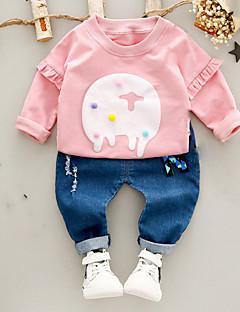 tanie Odzież dla chłopców-Komplet odzieży Bawełna Dla dzieci Codzienny Wiosna Długi rękaw Urocza Blushing Pink Purple Yellow