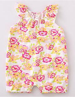 billige Babytøj-Baby Pige En del Afslappet/Hverdag Blomstret, Bomuld Sommer Uden ærmer Grøn Gul