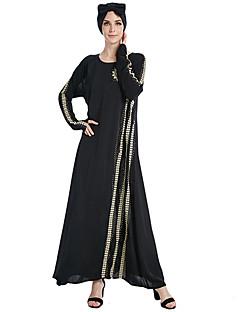 tanie Etniczne & Cultural Kostiumy-Arabska sukienka Abaya Sukienka kaftan Jalabiya Damskie Moda Festiwal/Święto Stroje Czarny / Złota Kwiat