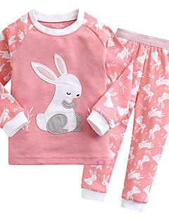 billige Undertøj og sokker til piger-Unisex Nattøj Trykt mønster, Bomuld Langærmet Simple Rød Lyserød Lyseblå