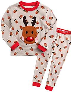 billige Undertøj og sokker til piger-Pige Nattøj Mønster, Bomuld Langærmet Normal Grøn Rød Beige