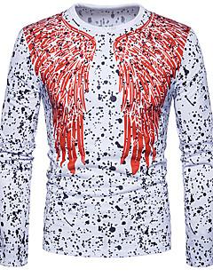 halpa -Miehet Pitkä hiha Samea Pyöreä kaula-aukko Puuvilla Kevät Syksy Vapaa-aika Kineseria Päivittäin Bile T-paita,Painettu