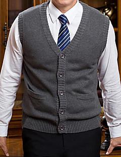 tanie Męskie swetry i swetry rozpinane-Męskie Rozmiar plus W serek Kamizelka Solid Color