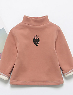 billige Babytøj-Baby Pige T-shirt Bomuld Langærmet Normal Lyserød Mørkegrå Navyblå Gul Lysebrun