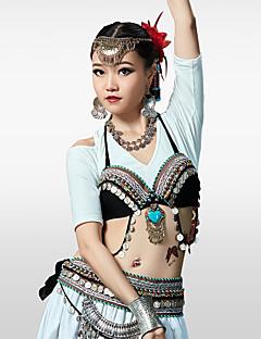 Χαμηλού Κόστους Χορός της κοιλιάς-Χορός της κοιλιάς Μπλούζες Γυναικεία Σκηνή Βαμβάκι Πολυεστέρας Χάντρες Ασημένια Νομίσματα Εφαρμοστό Αμάνικο Σουτιέν