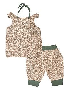 billige Tøjsæt til piger-Pige Tøjsæt Daglig Ferie Leopard Dyretryk, Bomuld Sommer Uden ærmer Afslappet Brun