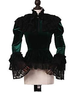 cheap Lolita Fashion Costumes-Gothic Lolita Dress Punk Women's Adults' Blouse/Shirt Cosplay Dark Green Long Sleeves