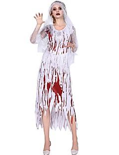 billige Halloweenkostymer-Brud Cosplay Kostumer Dame Halloween Halloween Festival / høytid Drakter Hvit Halloween