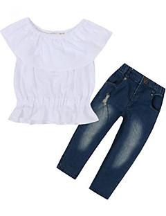 billige Tøjsæt til piger-Pige Tøjsæt Daglig I-byen-tøj Bomuld Forår Sommer Kortærmet Afslappet Gade Hvid