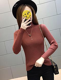 tanie Swetry damskie-Damskie Codzienny Solidne kolory Długi rękaw Regularny Pulower, Golf Czarny / Czerwony / Beżowy Jeden rozmiar