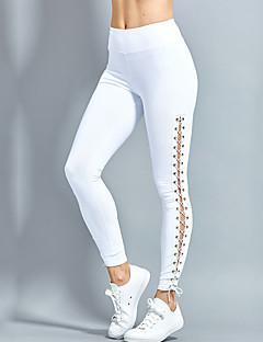 baratos Leggings para Mulheres-Mulheres Esportivo Legging-Sólido,Vazado Esportivo Fashion