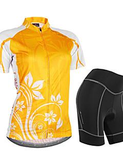 billige Sett med sykkeltrøyer og shorts/bukser-Nuckily Dame Kortermet Sykkeljersey med shorts - Oransje Blomster / botanikk Geometrisk Sykkel Shorts Jersey Klessett, Vanntett,